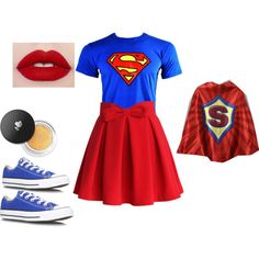 Supergirl costume idea by madisenharris on Polyvore featuring polyvore, fashion, style, Chicwish, Converse and Lancôme