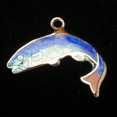 SALMON TOTEM CHARM Amulet Talisman Fish Seashell Marine Ocean Animal Magick Sea