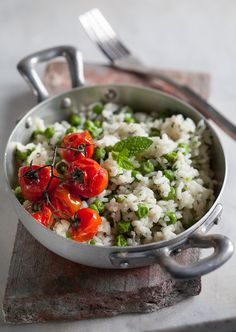 minted rice & peas with blistered cherry tomatoes :: plated stories