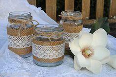 Vintage Wedding Engagement Decorations Hessian Lace Glass Jars Candle Holder NEW
