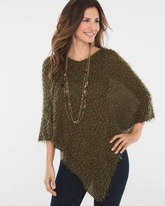 "Not so par for the coarse. Bouclé and eyelash yarns create innovative texture across this shimmery poncho, while the super softness keeps you covered and cozy. Semi-sheer weaving. Layer over your favorite tank or cami. Nylon, rayon and acrylic. Dimensions: 33""L x 37""W. Nylon, rayon and acrylic. Machine wash. Imported."