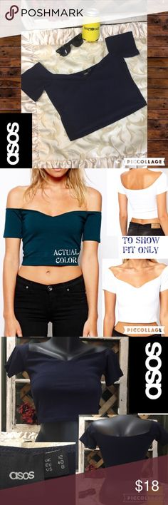 """ASOS Crop Top W/ Bardot Sweetheart Neckline, Sz 8 This crop top just screams fun. Perfect for those upcoming vacations to warm places! 🎰⛵️✈️🛳☀️☀️☀️Length of top is approx 9"""" so it covers all the important places. Sleeves are off shoulder. Color is blue and is in like new condition. Please feel free to ask questions or bundle for the best savings. I ship same or next day. 💥No trades. Thank you! ASOS Tops Crop Tops"""