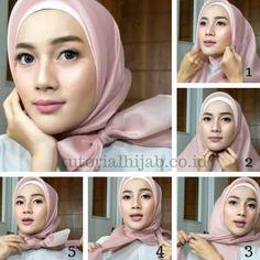 kumpulan gambar tutorial hijab segi empat sederhana terbaru simpel - my ely Tutorial Hijab Segitiga, Tutorial Hijab Wisuda, Square Hijab Tutorial, Simple Hijab Tutorial, Turban Tutorial, Kebaya Hijab, Kebaya Dress, Kebaya Muslim, How To Wear Hijab