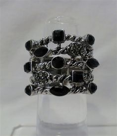 $20 Silver Cable Stretch Ring - Black Stones