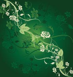 Template Design Dark Green Flower Motifs