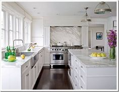 kitchens without upper cabinets. windows above sink, stove on one wall.
