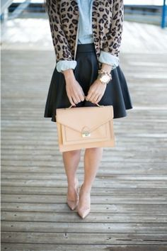 Shop this look for $114:  http://lookastic.com/women/looks/beige-heels-and-black-skater-skirt-and-light-blue-dress-shirt-and-brown-cardigan/66  — Beige Heels  — Black Leather Skater Skirt  — Light Blue Dress Shirt  — Brown Leopard Cardigan