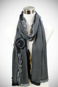 Cozy by LuLu Carter Scarf in Charcoal  #gray #scarf #infinity #infinity scarf #knit #open #fringe #metallic #chunky #chunky knit #winter #fall #thanksgiving #Christmas #romantic #flower #floral #knit