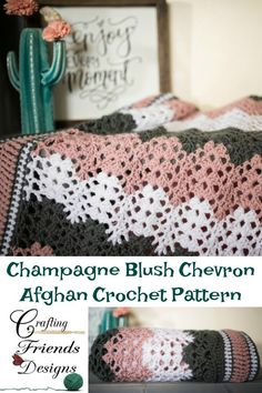Champagne Blush Chevron Afghan Crochet Pattern by Crafting Friends Designs. Customize to your desired size from Infant to King Chevron Crochet Patterns, Chevron Afghan, Crochet Designs, Knitting Patterns, Knit Or Crochet, Crochet Shawl, Crochet Crafts, Crochet Projects, Crochet Blankets