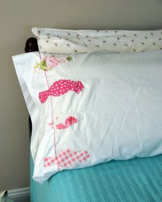 Birds On A Wire Appliqued Pillowcase