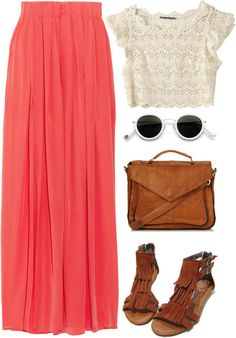 Coral maxi, lace cropped top and gladiators