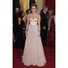 Miley Cyrus Champagne Prom Dress 82nd Oscar Awards Red Carpet Dress - TheCelebrityDresses