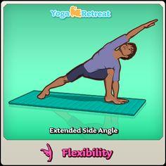 Extended Side Angle - Flexibility #yoga #yogaretreatgame: https://itunes.apple.com/ca/app/yoga-retreat/id636437510?mt=8