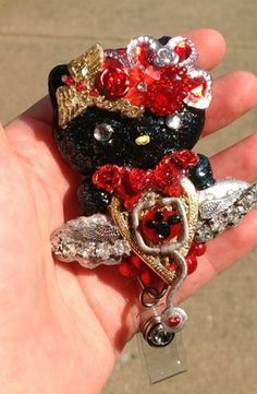 Medical Guardian Angel Black Hello Casting Kitty Id Badge Holder Reel |  Evezbeadz.artfire.com!