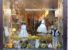 Les Doudous de Justine boutique, Marseille, France. Shop interior. Spring/Easter shop window, vitrine.