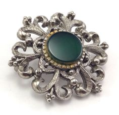 Vintage Silver Tone Signed LG Green Colored Stone Flower Round Pin Brooch