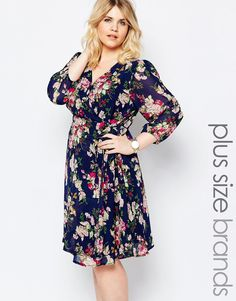 Image 1 of Yumi Plus Skater Dress With Wrap Front In Floral Print