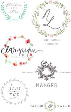 Logo inspiration: Floral wreathes | http://lanaloustyle.com/2014/04/logo-inspiration-floral-wreathes.html
