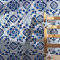 198 Camelias, Blue Glazed Ceramic Tiles 5 - Country Floors of America LLC. Cute Stud Earrings, Glazed Ceramic Tile, Portuguese Tiles, Moorish, Floral Motif, Wall Tiles, Portugal, Hand Painted, Flooring