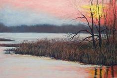 Pastellzeichnen – Ein Sonnenuntergang im Herbst –Bäume-Gras-Wasser- Christine Novak Kane