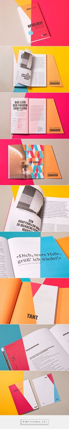 Oper Köln by Formdusche Berlin and Dario Ferrando - layout using bold colour and geometric shapes. Brochure Indesign, Template Brochure, Design Brochure, Brochure Layout, Flyer Template, Web Design, Layout Design, Print Layout, Leaflet Design