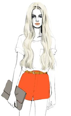 Teri Chung fashion illustration - coral shorts belted, and a clutch