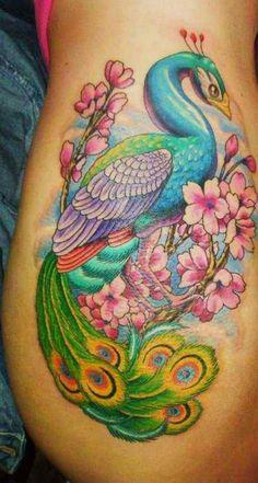 Peacock Tattoo on Thigh - 55+ Peacock Tattoo Designs  <3 <3