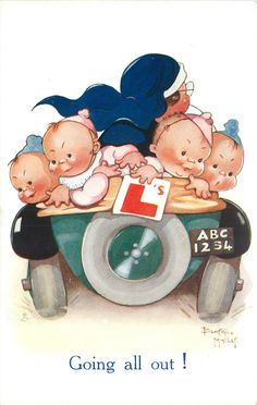 GOING ALL OUT!  nurse drives away with five babies in back of car, one holds L card, number plate ABC1234 - Art by BEATRICE MALLET