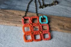 Square Crochet Necklace Coral and Turquoise. Lightweight Jewelry. Unique Gift. $33.00, via Etsy.