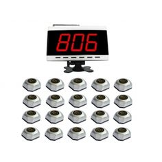 Wholesale SINGCALL.Service Calling System,Wireless Paging System for Hotel,Airport.Pack of 1 pc White Diaplay and 20 pcs Table Bells. [9500W-560S_1-20N]- US$389.99 - singcall.com