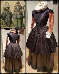 """By Angela Mombers: """"My 1620s dress, after a drawing of Hendrick Avercamp, is aaaaalmost ready! The black silk arrived last Saturday so I could finally make the skirt. It's attached to the bodice with very tight cartridge pleats. Then the hemline is gathered and tucked in the waist of the petticoat. The petticoat is actually green, but you can't see it well on this photo. Now the only thing left is to starch the cuffs and hood, and then I am ready!"""""""