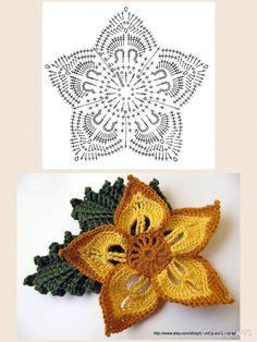 Crochet Butterfly Pattern, Crochet Leaf Patterns, Crochet Designs, Crochet Sunflower, Crochet Leaves, Crochet Flowers, Freeform Crochet, Crochet Motif, Crochet Doilies