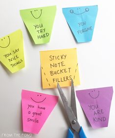 Use sticky notes to create bucket-filling statements!