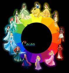 Princesses Color Wheel by on DeviantArt Disney Cartoons, Disney Movies, Disney Characters, Disney Stuff, Disney Princess Bedroom, Sailor Princess, Disney And Dreamworks, Disney Pixar, Custom American Girl Dolls