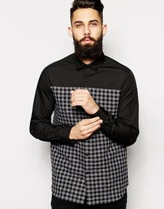 ASOS Smart Shirt In Nep Check With Contrast Yoke