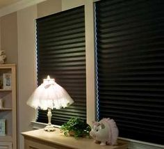 blackout shades modern window blinds - beautiful sheers/color over for day - black out for night! Blinds For Windows, Window Blinds, Blackout Shades, Hunter Douglas, Window Styles, Contemporary, Modern, Ceiling Lights, Curtains
