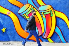 Man Walking Past Colorful Wall In The Mission District, San Francisco By Mitchell Funk   www.mitchellfunk.com