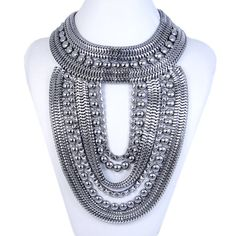 Fashion Black Bead Statement Necklace Metal Work by MiumiuJewelry, $21.99