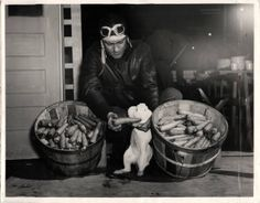 1943- U.S. cadet in front of the mess hall at the Independence Army Basic Flying School shares his carrots with a rabbit. Photo shows two bushels of carrots which represents what one cadet will consume during his 9 weeks of training in an effort to avert night blindness.
