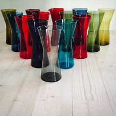 Kaj Franck pitcher 1610. Blown glass, clear, several colours. Hold 80 cl. In production 1956-1965.