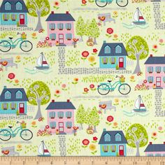 Sunday Ride Neighborhood Green/Multi from @fabricdotcom  Designed by Cherry Guidry of Cherry Blossoms Quilting Studio for Benartex, this cotton print fabric is perfect for quilting, apparel and home décor accents. Colors include grey, aqua, pink, green, yellow and white.