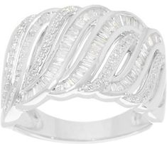 Affinity Diamond Jewelry Baguette & Round Diamond Ring, Sterling, 1/2 cttw by Affinity