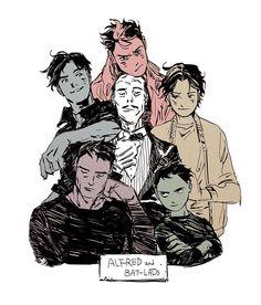 Batman: Alfred's Boys Im Batman, Batman Robin, Damian Wayne, Nightwing, Robins, Illustration Studio, Batfamily Funny, Red Robin, Couples Anime