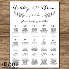 This listing is for a CUSTOM Wedding Seating Chart, that is customized with your color scheme and text.  Print at your local print shop or copy center = its INEXPENSIVE and NO SHIPPING FEE  ===== WHAT YOU RECEIVE ===== • seating chart - in desired size • non-editable PDF | 200dpi | 0.5in bleed • personalized with your information and color choice (font, background)  ==== SEE MATCHING ITEMS ==== http://etsy.me/1i30sKJ other items available, please message me for details  === OTHER SEATING…