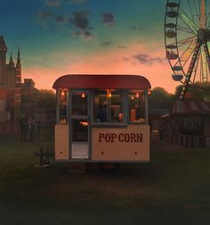 Popcorn Stand at Twilight Aesthetic Room Decor, Aesthetic Vintage, Aesthetic Photo, Aesthetic Pictures, Popcorn Stand, Summer Wallpaper, Look At You, Gas Station, Amusement Park