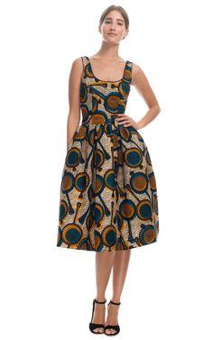 Printed Wax Cotton Full Skirt Tank Dress