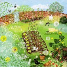 lucy grossmith Garden Illustration, Ouvrages D'art, Guache, Naive Art, Illustrations, Prints For Sale, Landscape Art, Pretty Pictures, Garden Art