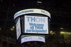The Jordan Center scoreboard as THON 2013 approaches.