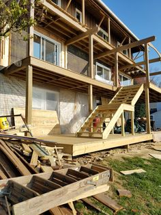 Building three new levels of decks on a lake house Fixer Upper, Decks, Cabin, Mansions, House Styles, Building, Home Decor, Decoration Home, Room Decor