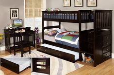 [Trundle Bed] Twin Over Twin Stair Stepper Bed with Trundle in Espresso Finish -- You can get additional details at the image link. (This is an affiliate link)